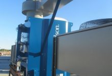 Heavy-duty dust collector fan outlet silencer, custom designed for 70 dBA at outlet.